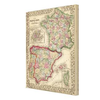 Mitchell著フランス、スペイン、ポルトガルの地図 キャンバスプリント