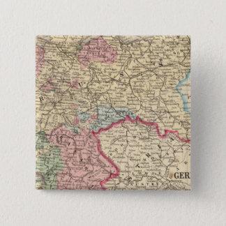 Mitchell著プロシア、ドイツの州の地図 5.1cm 正方形バッジ