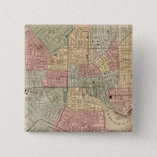 Mitchell著ボルティモアの地図 5.1cm 正方形バッジ