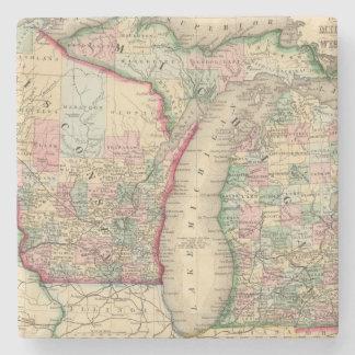 Mitchell著ミシガン州、ウィスコンシンの地図 ストーンコースター