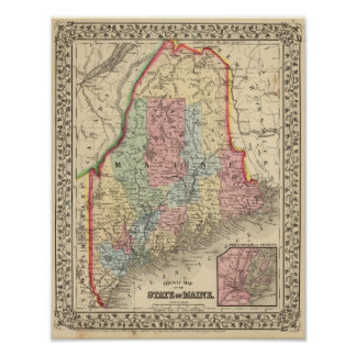 Mitchell著メインの地図 ポスター