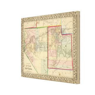 Mitchell著ユタ、ネバダの地図 キャンバスプリント