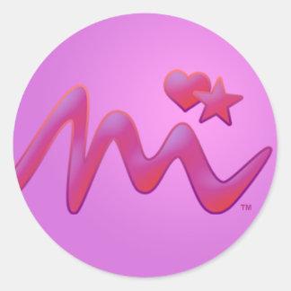 Miyaの署名のハート及び星のステッカー ラウンドシール