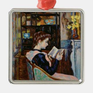 Mlle。 Guillauminの読書1907年 シルバーカラー正方形オーナメント