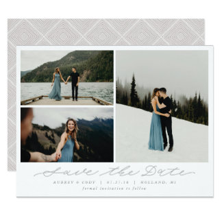 Modern Calligraphy Multi-Photo Save the Date カード
