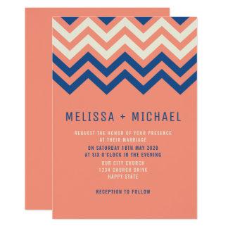Modern Chevron Pattern Coral And Blue Wedding カード