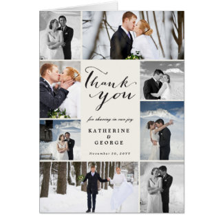 Modern Classy Photo Collage Wedding Thank You Card カード
