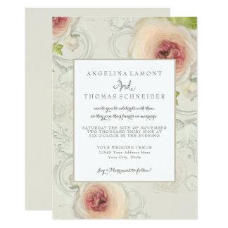 Modern Elegant Peony Scrollwork Flower Floral Art カード