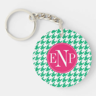 Modern Emerald Green Houndstooth Personalized キーホルダー