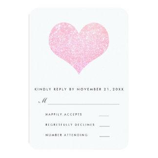 Modern Faux Rose Glitter Cute Heart Wedding RSVP カード