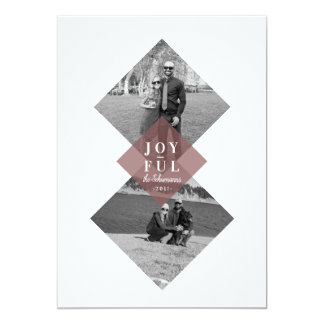 Modern Geometric Joyful Holiday Photo Card カード