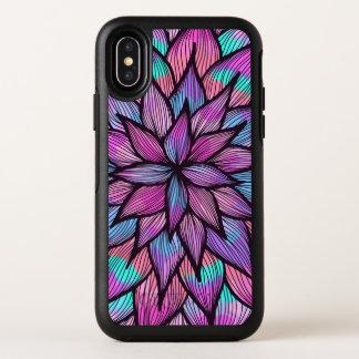 Modern Girly Watercolor Black Lined Floral Petals オッターボックスシンメトリー iPhone X ケース