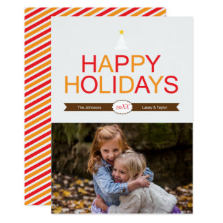Modern Holiday Red, Gold & Brown Christmas Photo カード