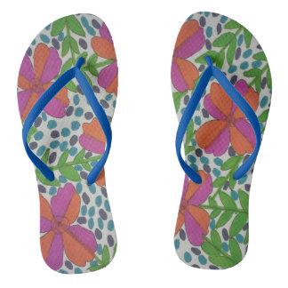 Modern Jungle Floral Print Flip Flops ビーチサンダル