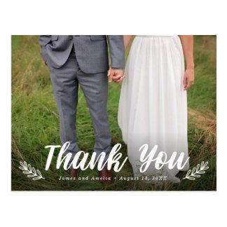 Modern Letter Laurel Wedding Thank You Postcard ポストカード