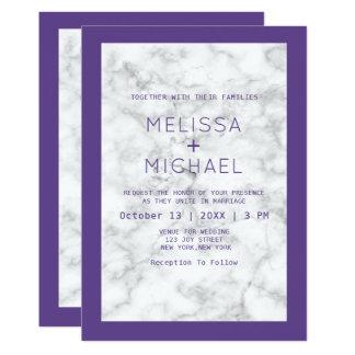 Modern Marble And Purple Wedding カード