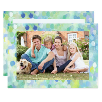 Modern Merry Holiday Watercolor Photo Frame Card カード