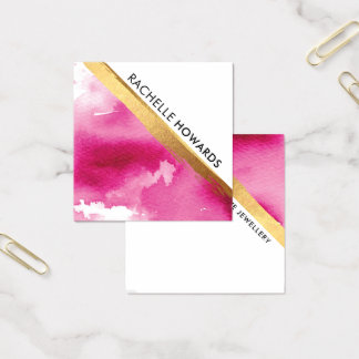 MODERN MINIMAL ANGLE pink watercolor gold brush スクエア名刺