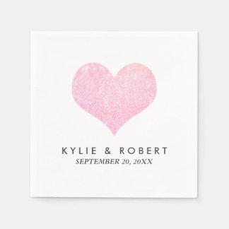 Modern Minimal Faux Rose Glitter Heart Wedding スタンダードカクテルナプキン