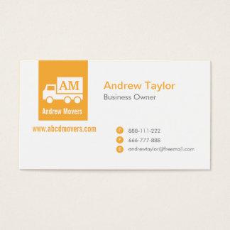 Modern Minimalist Mover Companyのオレンジ白いトラック 名刺