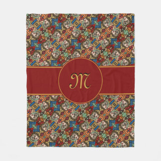 Modern Monogrammed Abstract Faces Fashion Beauty フリースブランケット