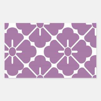 Modern  purplish flower pattern 長方形シール