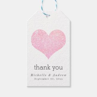 Modern Rose Faux Glitter Heart Thank You Wedding ギフトタグ