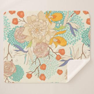 Modern Rose Peony Flower Pattern Sherpa Blanket シェルパブランケット