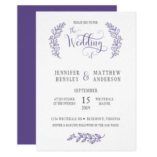 Modern Stylistic Ultra Violet Wedding Invitation カード