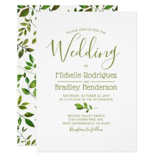 Modern Tree Greenery Watercolor Foliage Wedding カード