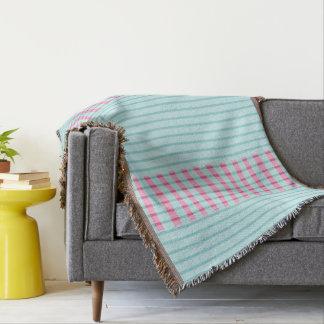 Modern_Turquoise-Pink-Stripes スローブランケット