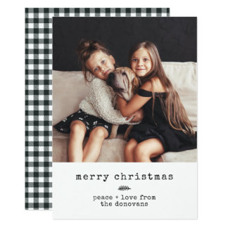 Modern Typewriter | Holiday Photo on Black Gingham カード