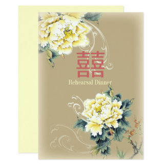 modern vintage peony floral chinese Wedding カード