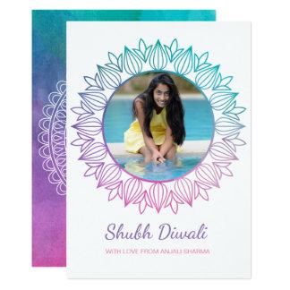 Modern Watercolor Diwali Photo Greeting Card カード