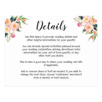 Modern Watercolor Floral Wedding Details ポストカード