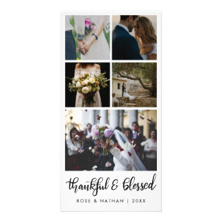 Modern Wedding Five Photos Thankful And Blessed カード