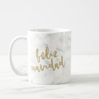 Moderna Feliz Navidad Blanco y Oro コーヒーマグカップ