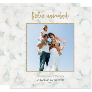 Moderna Feliz Navidad Blanco y Oro Foto カード