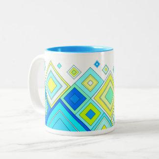 ModernRetro Diamonds Aqua ツートーンマグカップ