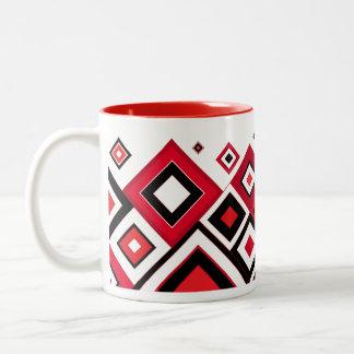 ModernRetro Diamonds Red-Black ツートーンマグカップ