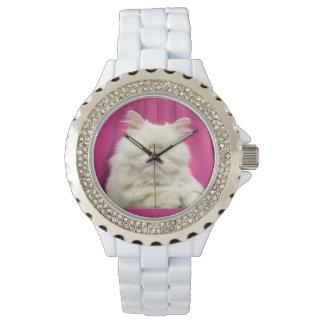 Moet盲目猫の白い腕時計 腕時計