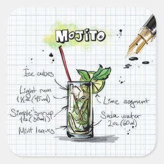 Mojitoのレシピ-カクテルのギフト スクエアシール