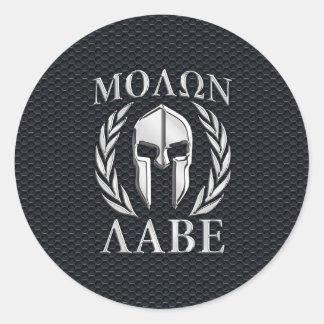 Molon Labeのクロムはグリルのスパルタ式のヘルメットを好みます 丸形シールステッカー