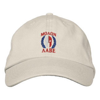 Molon Labeのスパルタ式のヘルメットの月桂樹の三色 刺繍入りキャップ