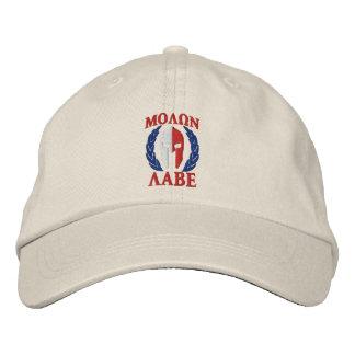 Molon Labeのスパルタ式のヘルメットの月桂樹の三色 刺繍入り野球キャップ