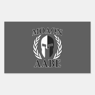 Molon Labeのスパルタ式のヘルメットの月桂樹の木炭 長方形シールステッカー
