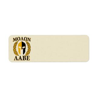 Molon Labeのスパルタ式のマスクの月桂樹ベージュ色アクセント ラベル