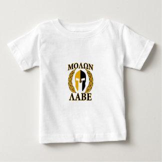 Molon Labeのスパルタ式のマスクの月桂樹ベージュ色装飾 ベビーTシャツ