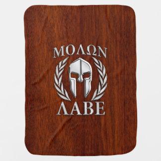 Molon Labeのスパルタ式の戦士の月桂樹のChroの木製のプリント ベビー ブランケット