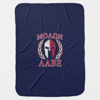 Molon Labeのスパルタ式の戦士青いカーボン繊維のプリント ベビー ブランケット